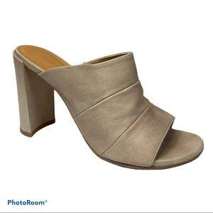 Stuart Weitzman tan leather sequel open toe slide